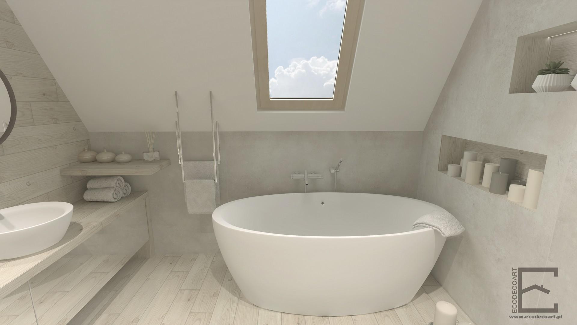 Łazienka z wanną i skosami