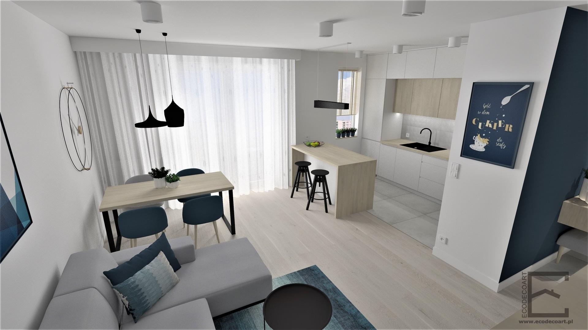 Mieszkanie w Lublinie – salon z aneksem kuchennym