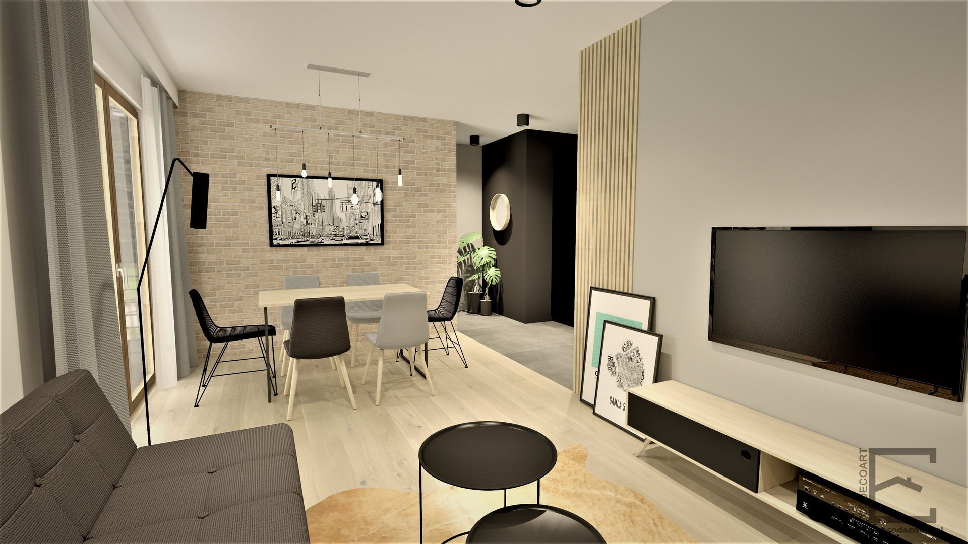 Męskie mieszkanie z elementami w stylu loft