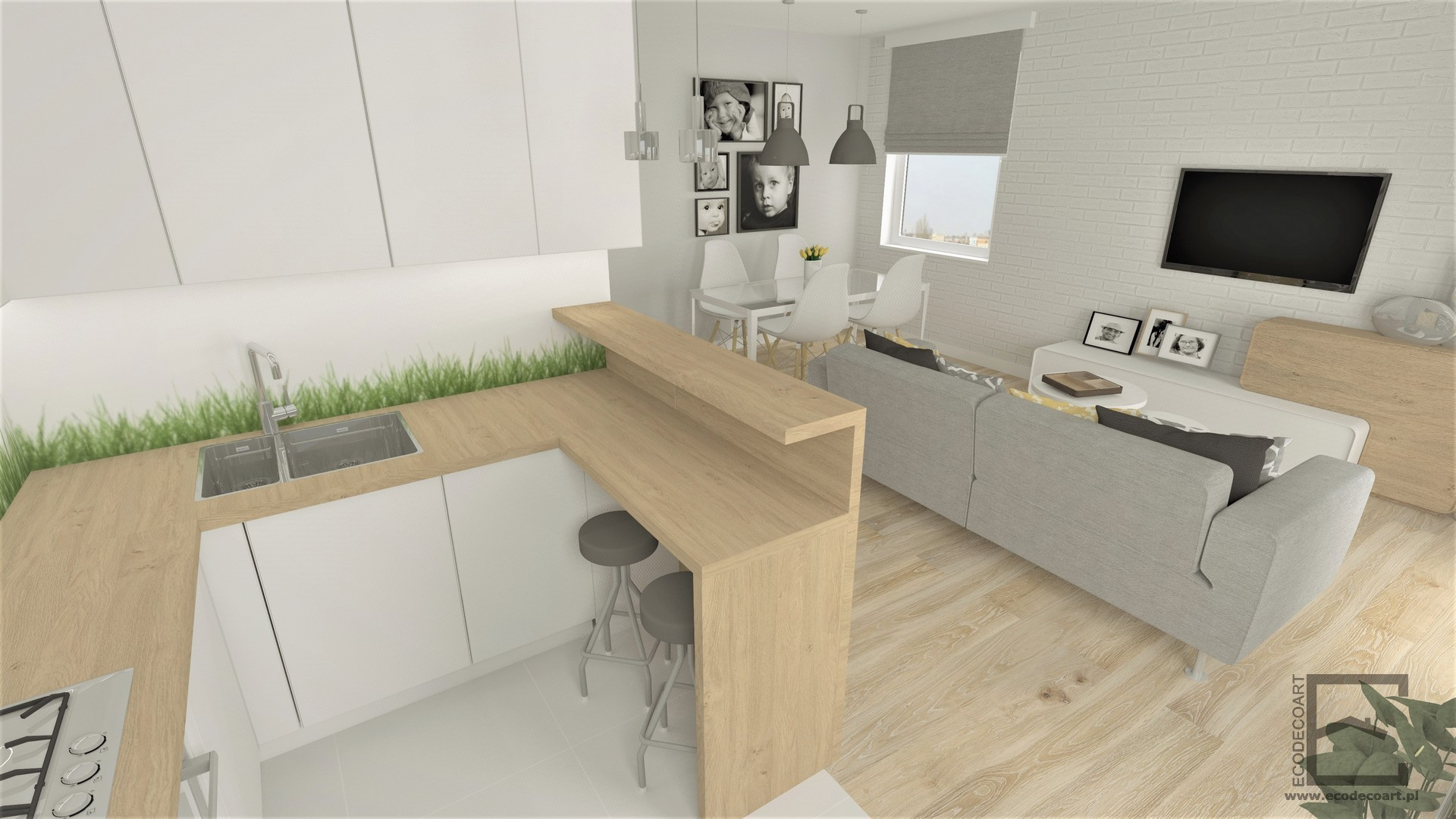Mieszkanie w Mielcu – strefa dzienna w dwóch wersjach