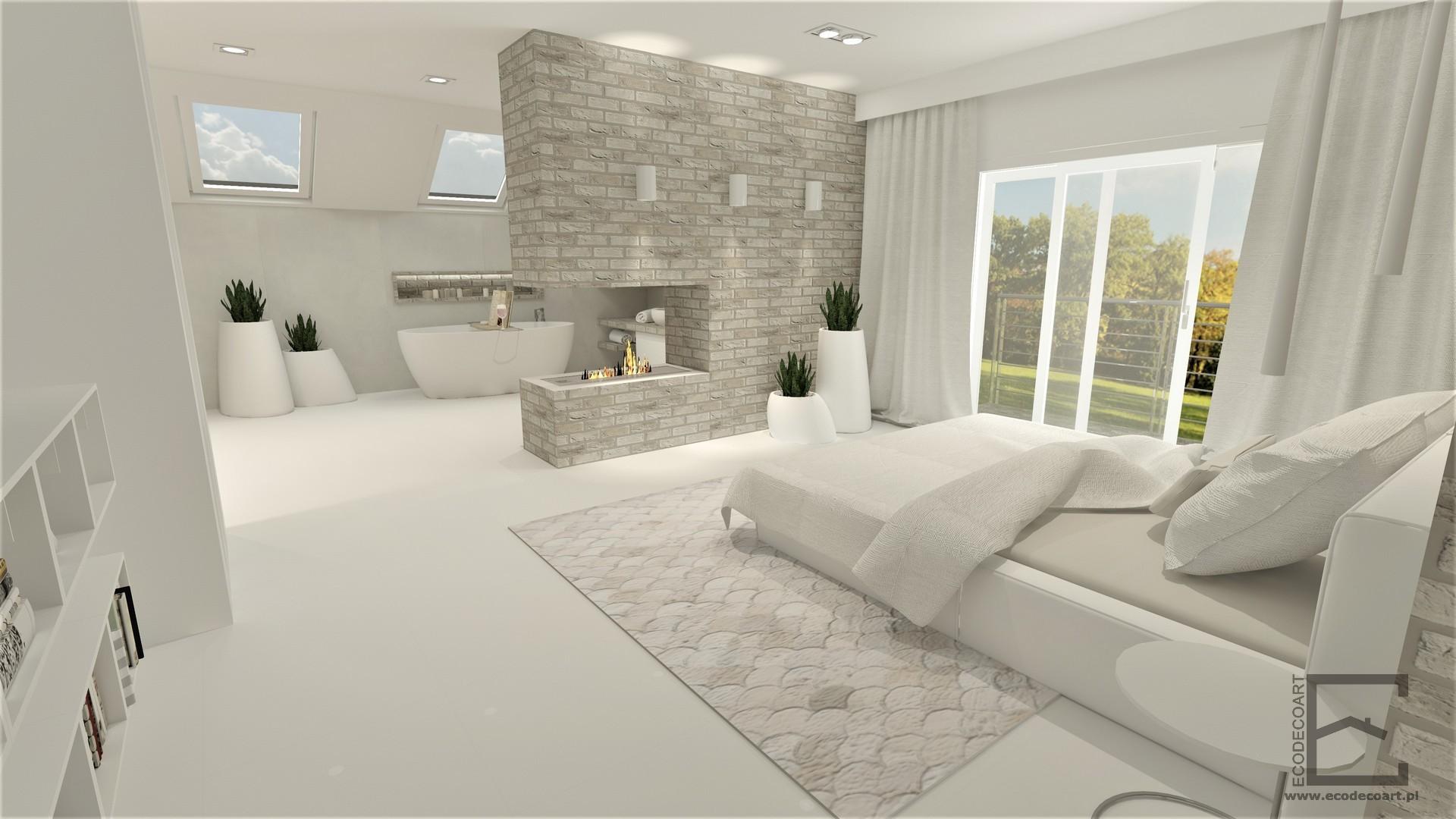 Sypialnia z łazienką i kominkiem w Rzeszowie